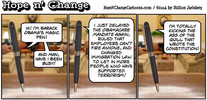 obama, obama jokes, cartoon, humor, executive order, obamacare, immigration, pen, stilton jarlsberg, conservative, tea party