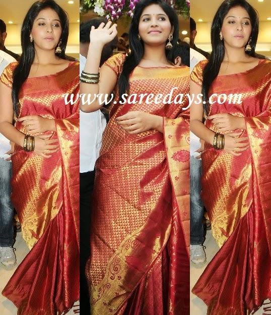 Latest saree designs anjali in red silk saree anjali in red silk saree altavistaventures Images