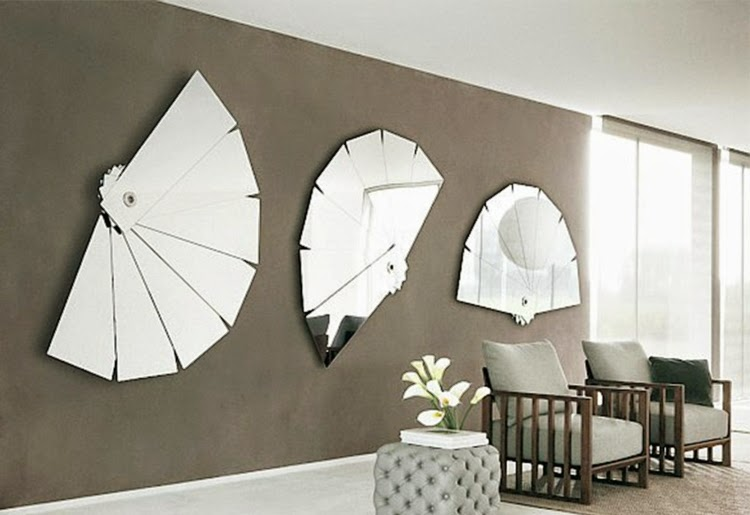 modern living room wall decoration with mirrors in fan shape - Decorative Wall Designs