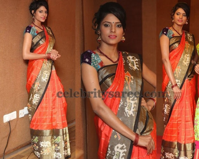 Orange Printed Stripes Silk Sari