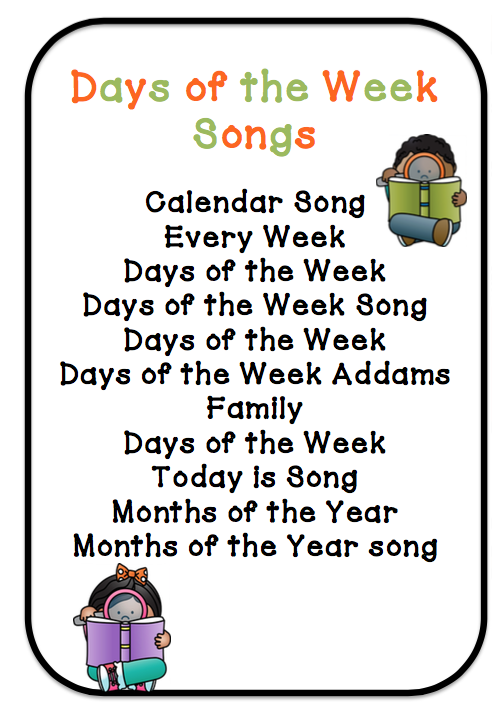 By using songs, activities, and even your family's schedule, your preschooler will learn the days of the week before you know it. Incorporate Family Life Simply by being part of a family, your preschooler probably understands that there is a routine in place and different days to do different things.