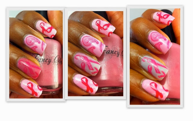 Lacquer Lockdown - breast cancer awareness, stamping, bundle monster 2013, bundle monster, nail art, breast cancer nail art, october nail art, cute nails, easy nail art, essie french affair, fancy gloss barbie girl, thermal polish, indie polish, breast cancer ribbon nail art,
