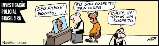 Tiras: Investigação policial brasileira. suspeito