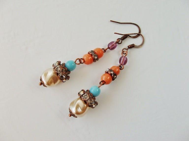 Eesti ehted vintage stiilis perles anciennes de verre boucles