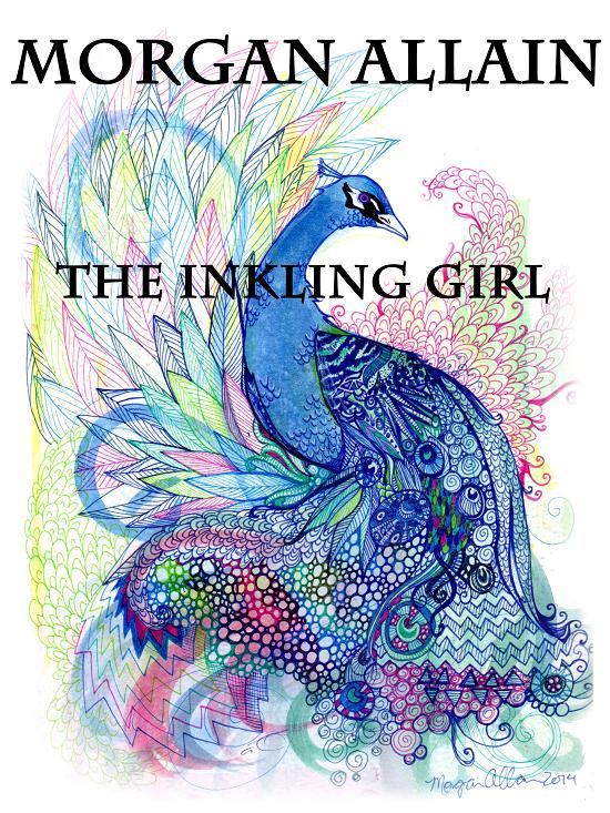 Illustration art of blue peacock by Morgan Allain