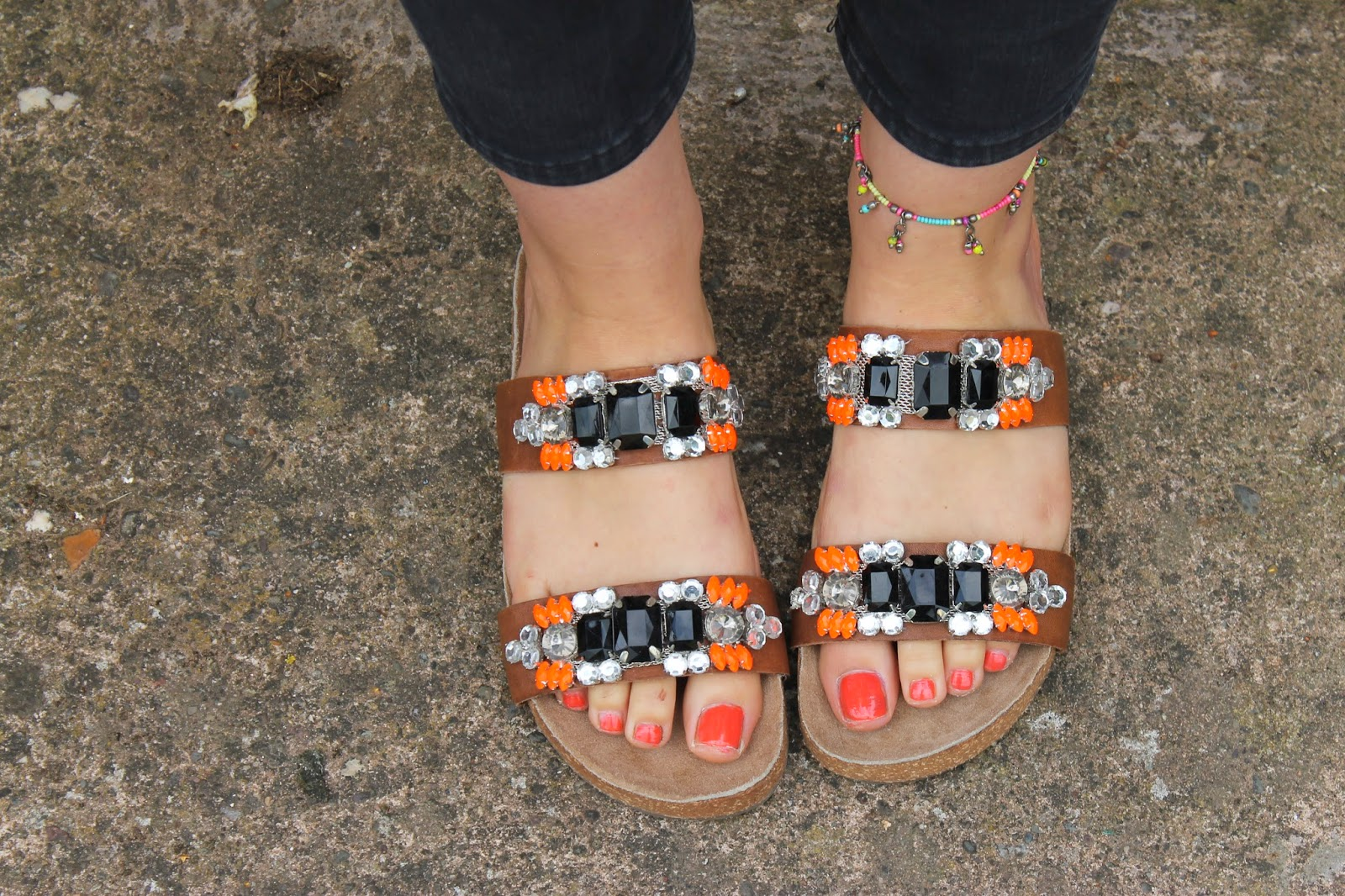 New Look Jewelled Sliders