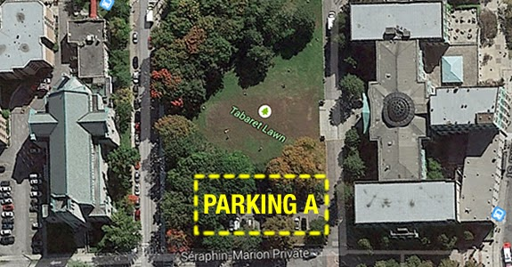 This image shows the outline of the Tabaret parking space