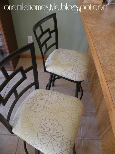 Recovered bar stools with botanical fabric