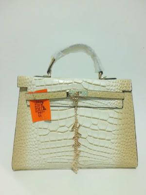 tas wanita terbaru, impor, import, tas branded Kelly Croco, Tas Kelly Croco warna Putih (white), image