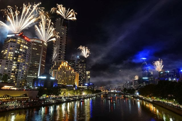 Fuegos Artificiales, año nuevo 2014, Melbourne, Australia