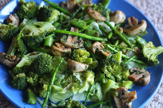 sauteed mushroom, broccoli and asparagus salad