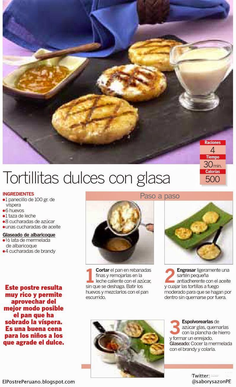 RECIPES -RECETA FÁCILES : TORTILLITAS DULCES CON GLASA - POSTRES SENCILLOS