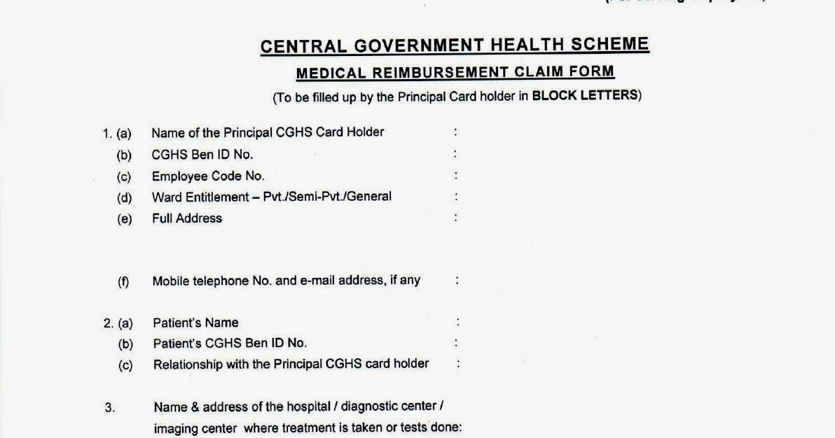 New Medical Reimbursement Claim Mrc Form For Cghs Beneficiaries
