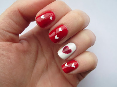 Butter London Chancer and Sinful Colors Ruby Ruby Valentine's Day nail art