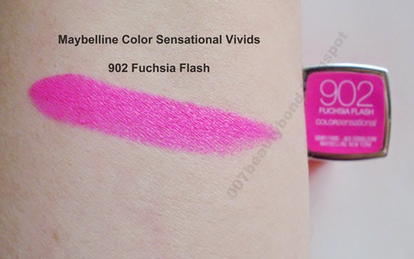 swatch Batom Maybelline Color Sensational Vivids na cor 902 Fuchsia Flash dupe Candy Yum Yum MAC