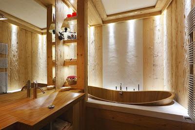 baño rústico casa montaña