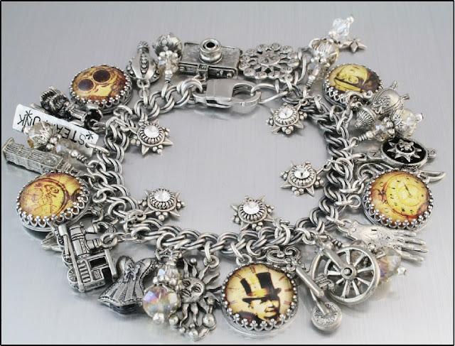 steampunk charm bracelet, steampunk jewelry, time travel jewelry, time travel bracelet, victorian charm bracelet