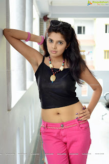 Shravya in Cute Neon Pink Pant and Black Tank Tp