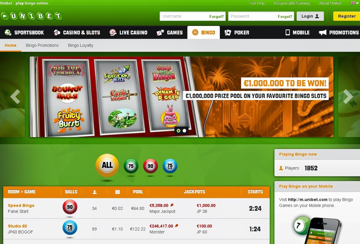 Unibet Bingo Screen
