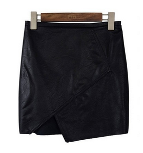 Vegan Leather Asymmetrical Skirt Spring Summer Runway Trends