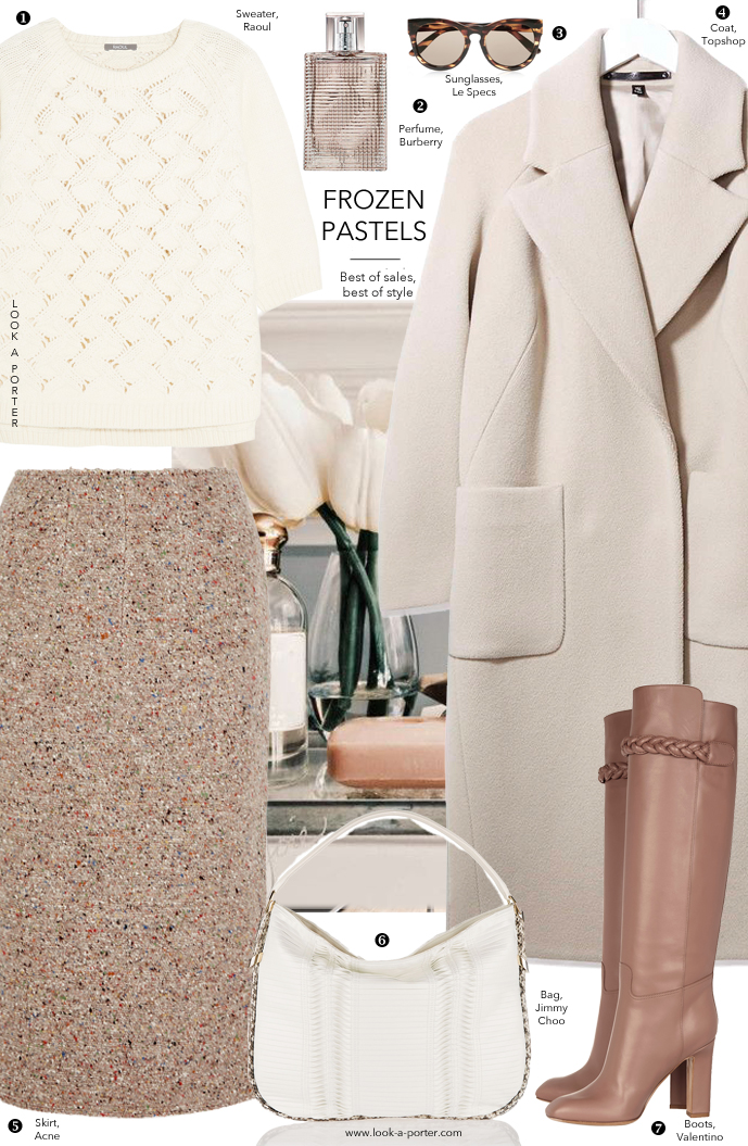 How to wear pastels in winter? Here's an idea of wearing cream and dusty rose look via www.look-a-porter.com style & fashion blog / Valentino, Topshop, Raoul, Jimmy Choo, Le Specs