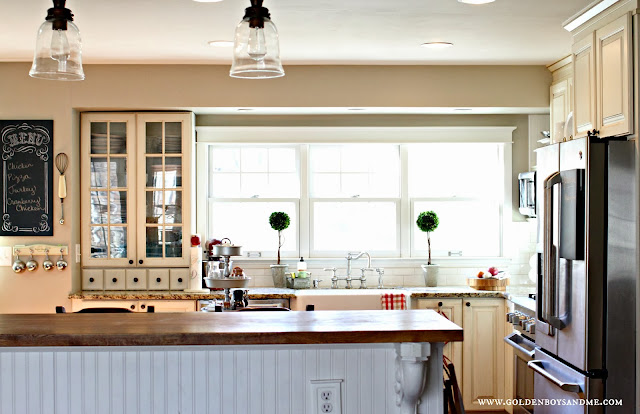 DIY kitchen with Shaw's farmhouse sink and boxwood topiaries-www.goldenboysandme.com