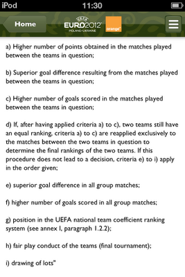 Euro 2012 rules on groups