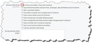 Langkah menonaktifkan akun facebook