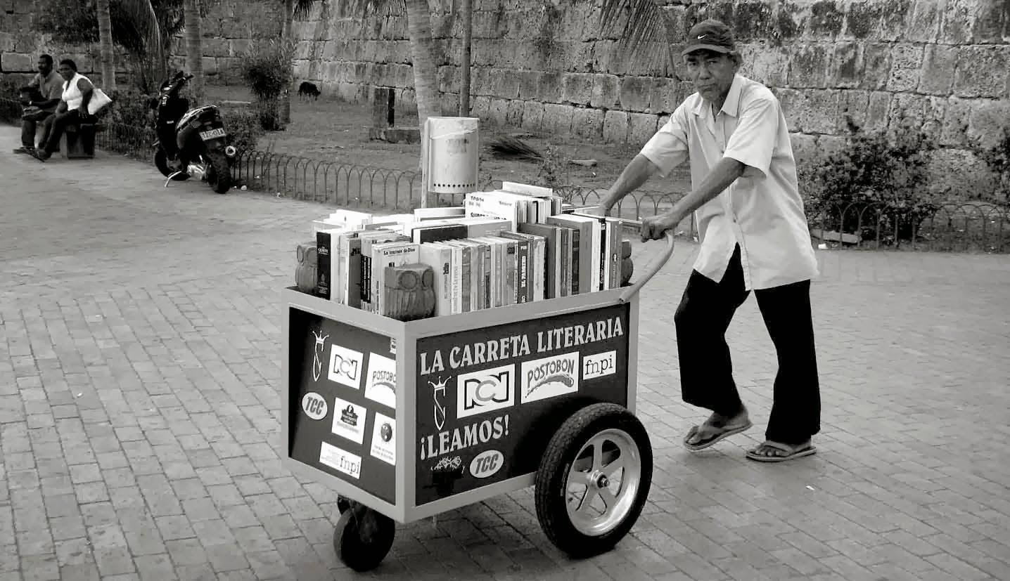 vendedor, ambulante, libros,