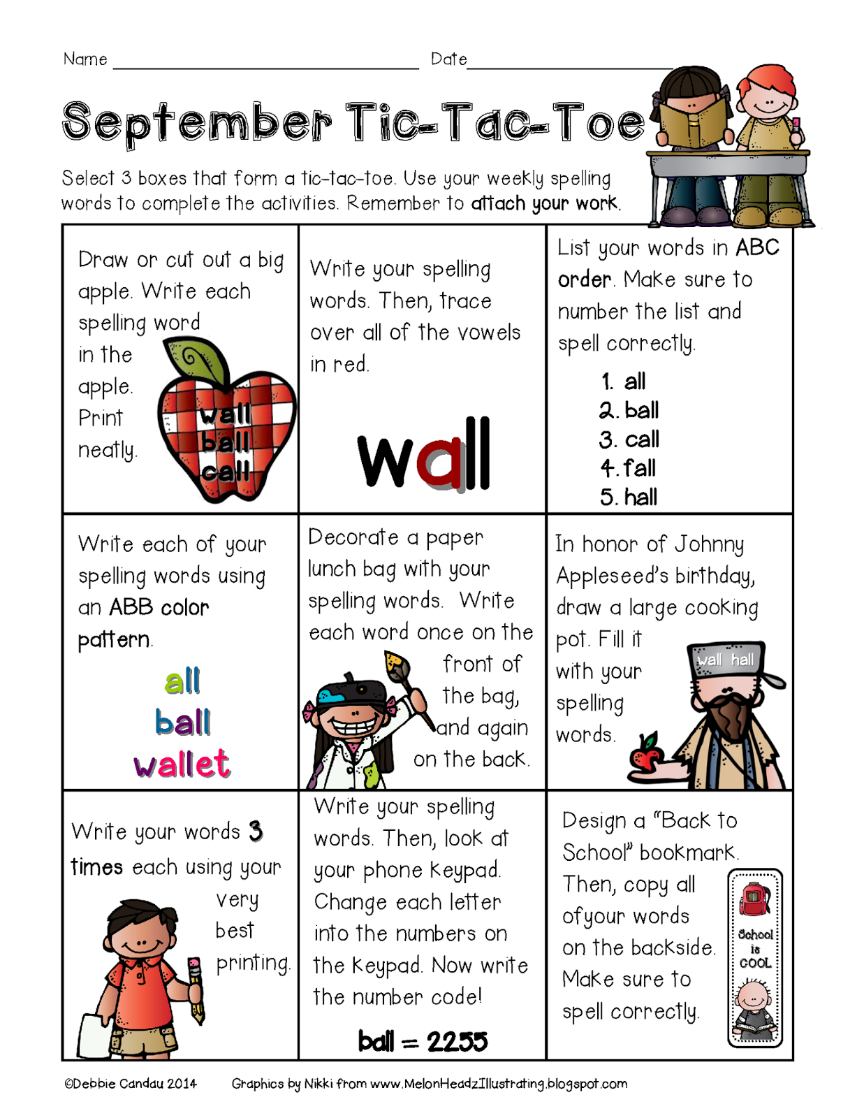 Sailing Through 1st Grade July and September Spelling TicTacToe – Tic Tac Toe Math Worksheets