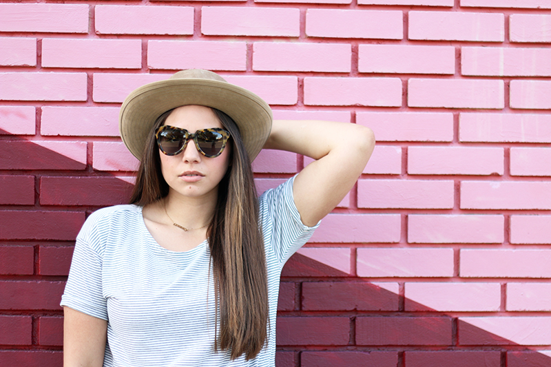 karen walker sunglasses and jcrew hat