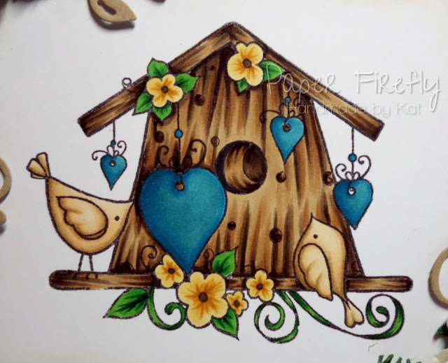 New home card featuring Bird House stamp by Hobby Art