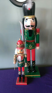 one big and one small green nutcrackers