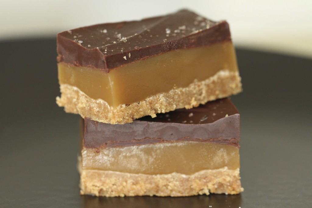 chocolate caramel bars with coffee spiked chocolate ganache on top ...
