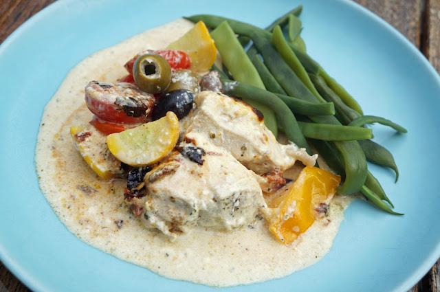 kyckling med grönsaker och sås