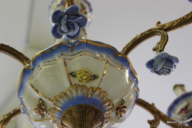 Dainty hand made blue porcelain roses hang from the 6 arms~ - Maison Decor: Blue Porcelain Roses On A Vintage Chandelier