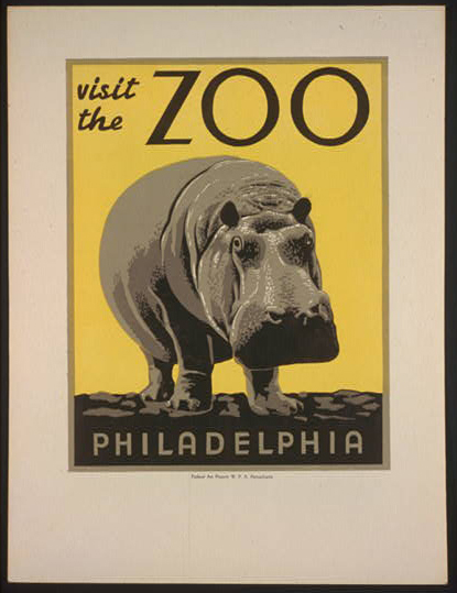 travel, travel posters, wildlife, vintage, vintage posters, animal poster, hippo, free download, graphic design, retro prints, classic posters, Visit the Philadelphia Zoo - Vintage Animal Travel Poster