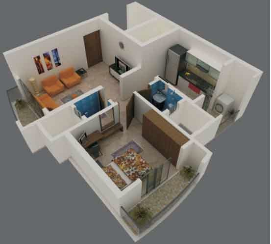Foundation dezin decor 3d view of 1bhk 2 bhk for 3 bhk flat interior designs