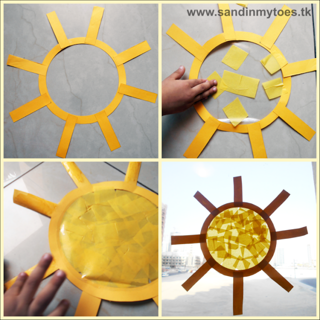 Easy to make craft for kids - a bright and 'sunny' suncatcher!