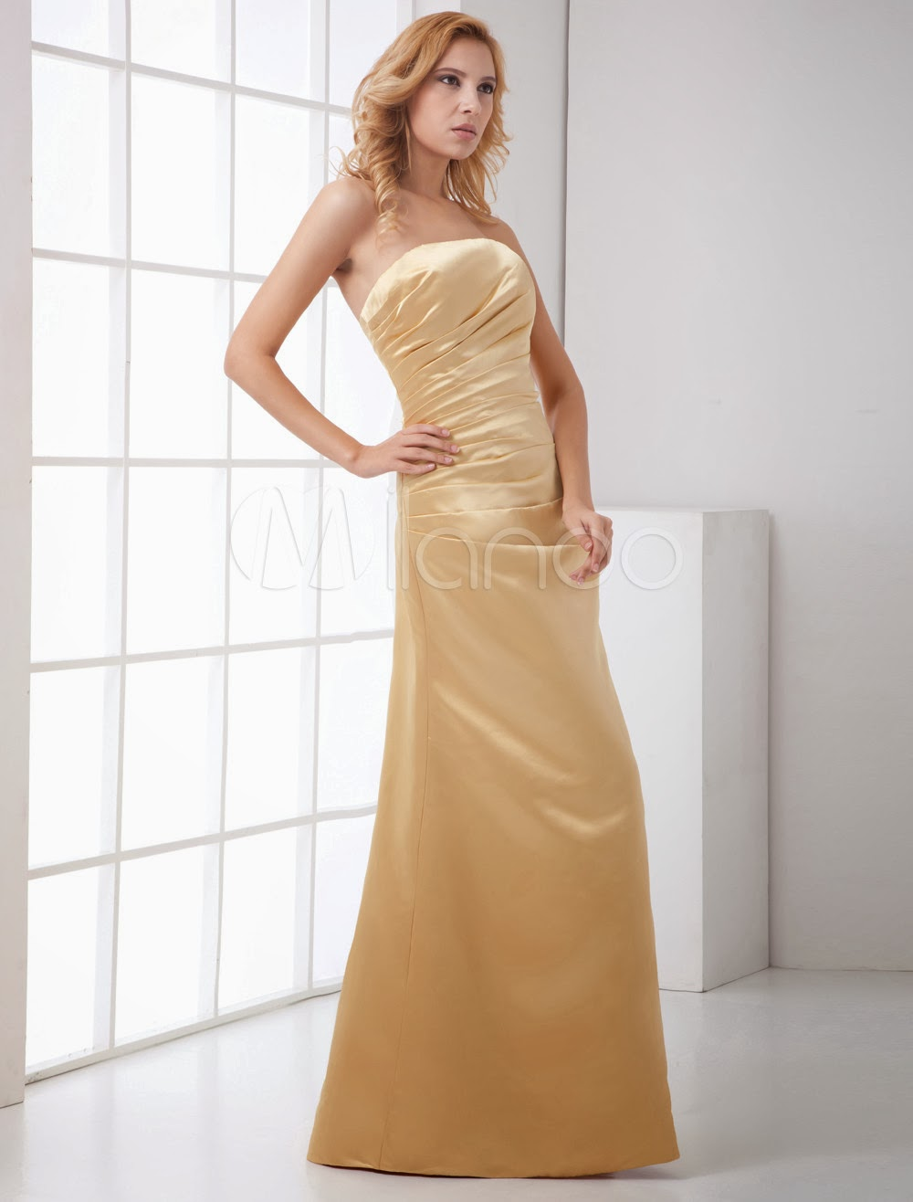 Sheath Champagne Satin Floor-Length Fashion Bridesmaid Dress
