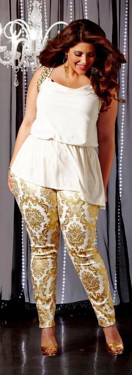 Moda plus size - moda tamanhos calças estampadas e top