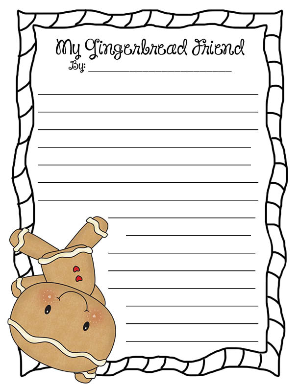 Gingerbread Man Paper Lined   New Calendar Template Site