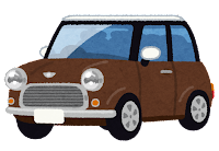 コンパクトカーのイラスト(茶)