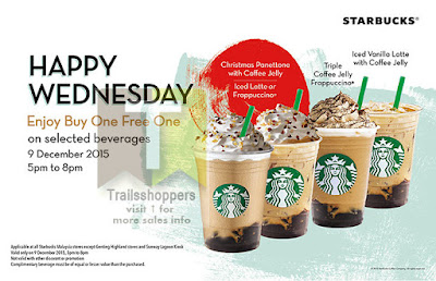 Starbucks Wednesday buy 1 FREE 1 2015