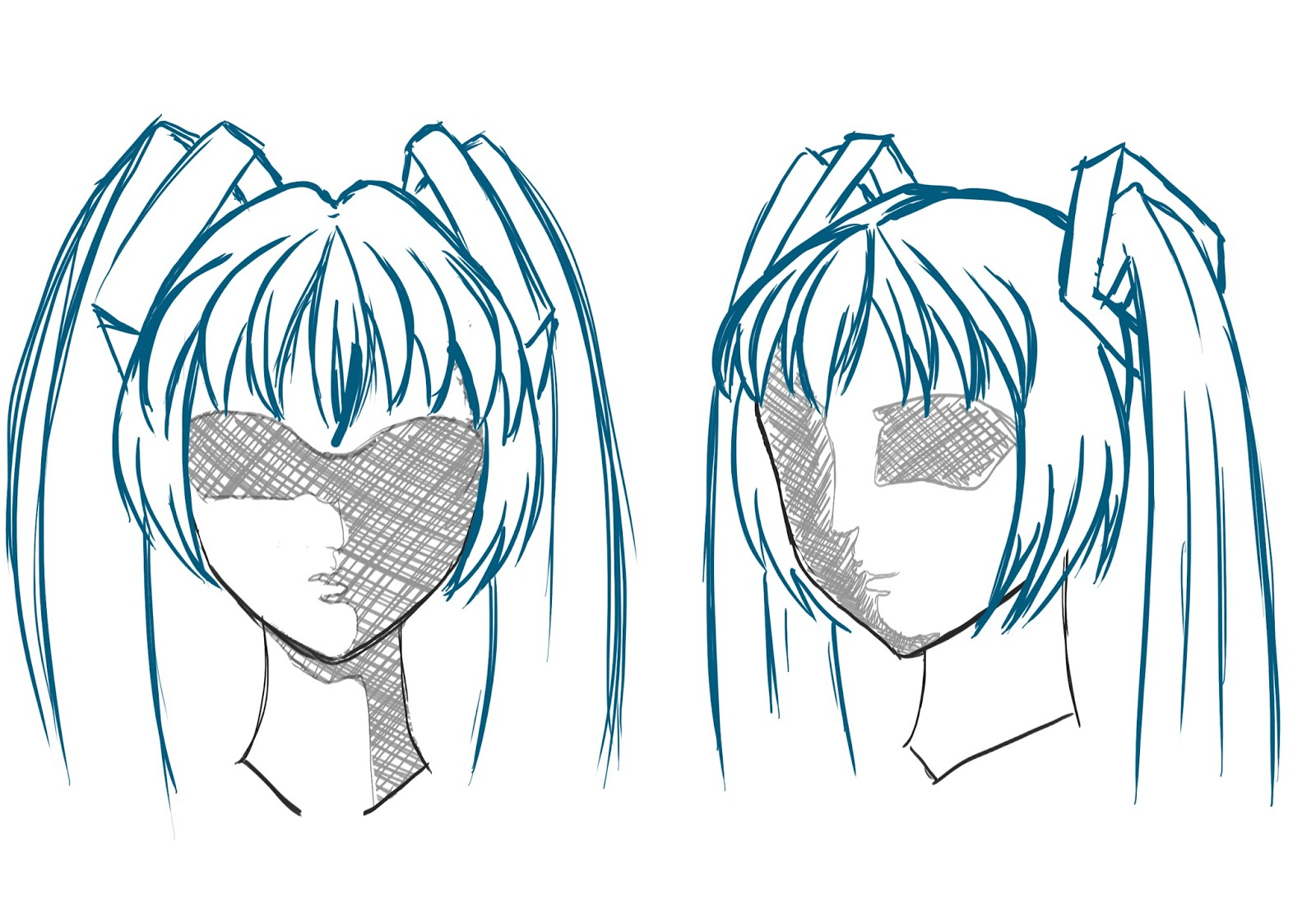 Anime hair drawing