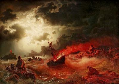 Il quadro di Marcus Larson raffigura l'alba sul mare con una barca che va a fuoco