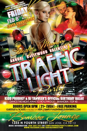 Bollywood Valentine's Day Traffic Light Party Flyer Design