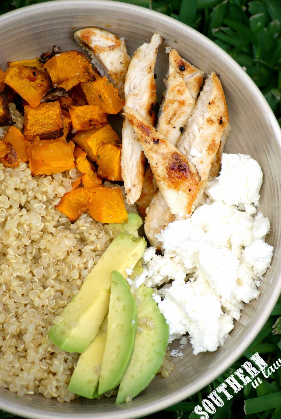 Gluten Free Roasted Pumpkin and Feta Quinoa Bowls Recipe - low fat, gluten free, vegetarian, clean eating friendly, lower carb, high protein, healthy
