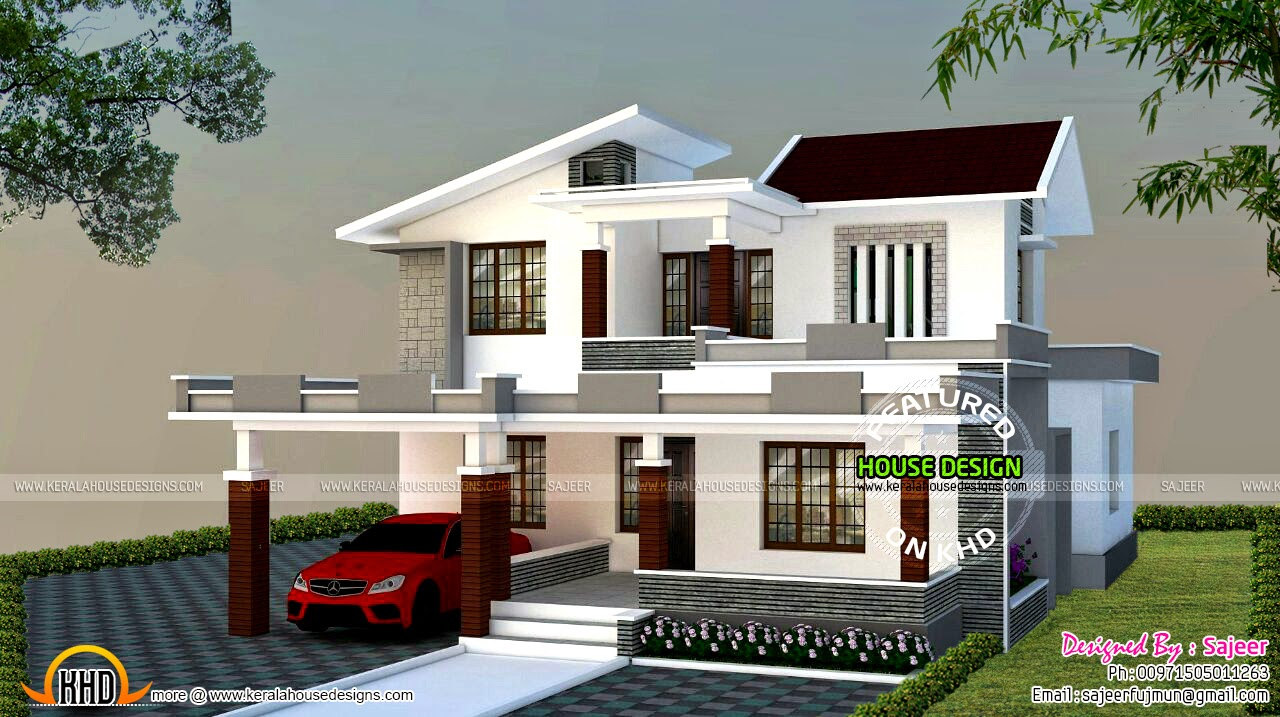 Low cost contemporary style villa kerala home design and Low cost modern homes