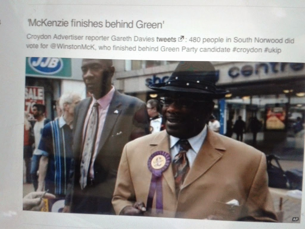 screen photo from bbc web site entitled mckenzie finishes behind green